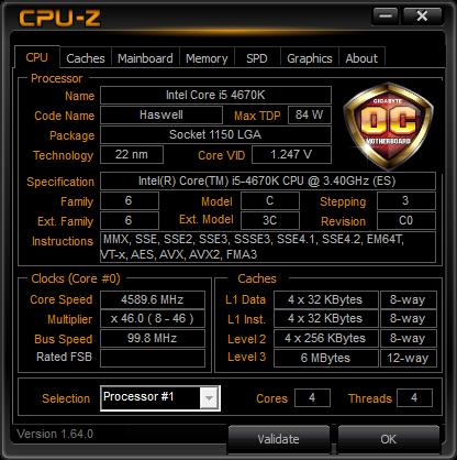 Intel Core i5 4670K procesor podkręcanie CPU-Z